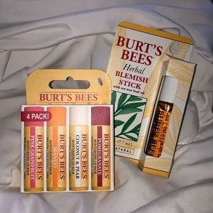 Burts Bees Lip Balm & Herbal Blemish Stick Bundle